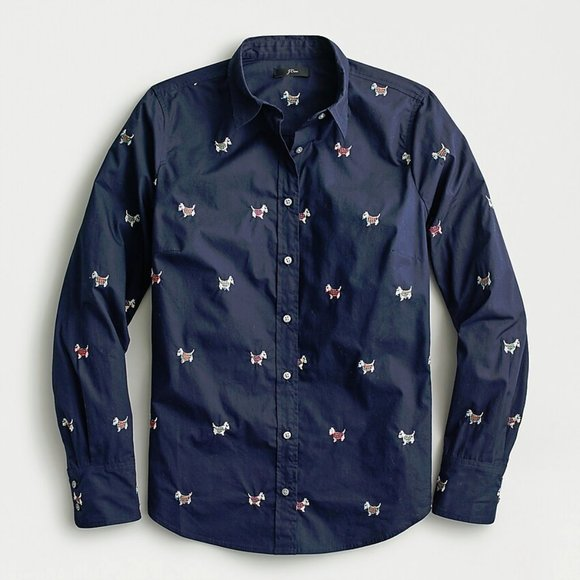 J Crew NWT $79.50 Perfect Shirt in Dog Days EmbroiderySz 10Navy